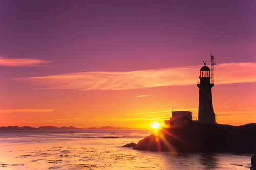 Sheringham Lighthouse at sunset near Jordan River, BC